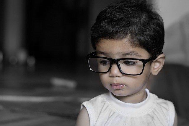 Black-rimmed glasses